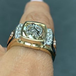 Accessories - 14k Tri Color Solid Gold Horse Shoe Band Ring